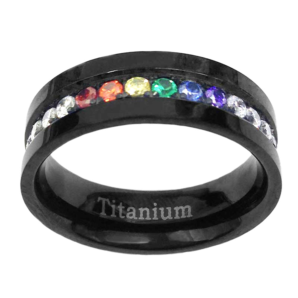 6mm black titanium unisex lesbian gay pride wedding band for Lesbian ring finger wedding rings