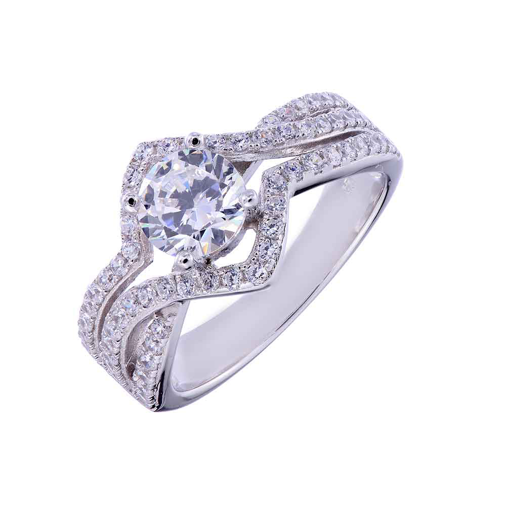 Sterling silver round cubic zirconia women jewelry wedding for Sterling silver cubic zirconia wedding rings