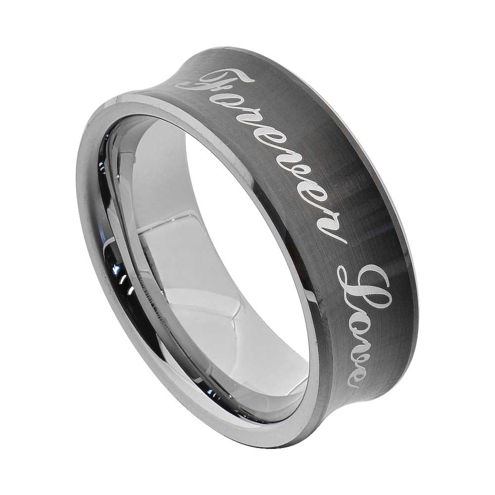 tungsten promise ring wedding band gold black silver blue