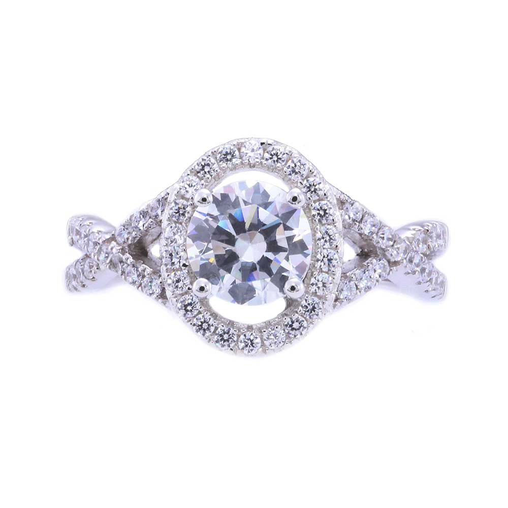 925 Sterling Silver Round Cubic Zirconia XOX Cross Over Shank Engagement