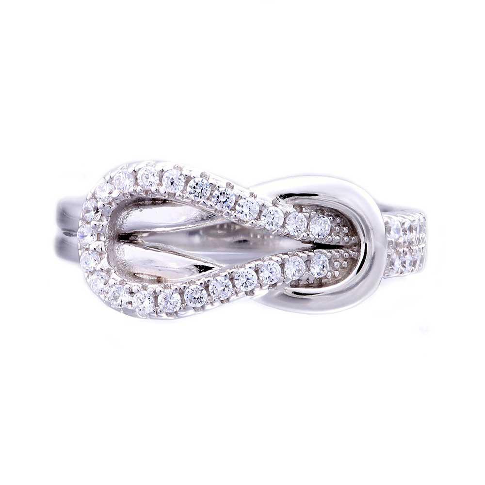 sterling silver cubic zirconia love knot women jewelry