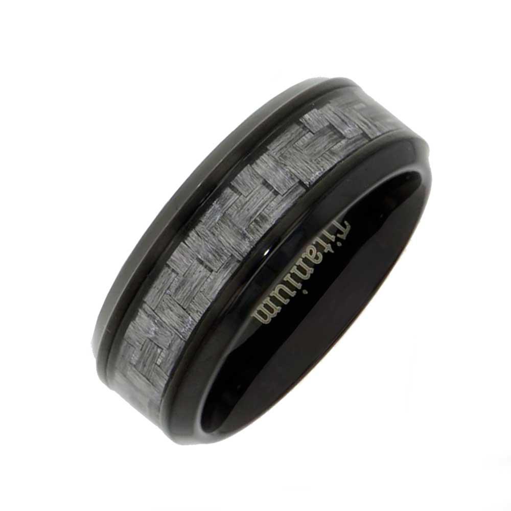 8mm Gray Carbon Fiber Strip Bevel Edges Black Titanium Mens Wedding Band Ring