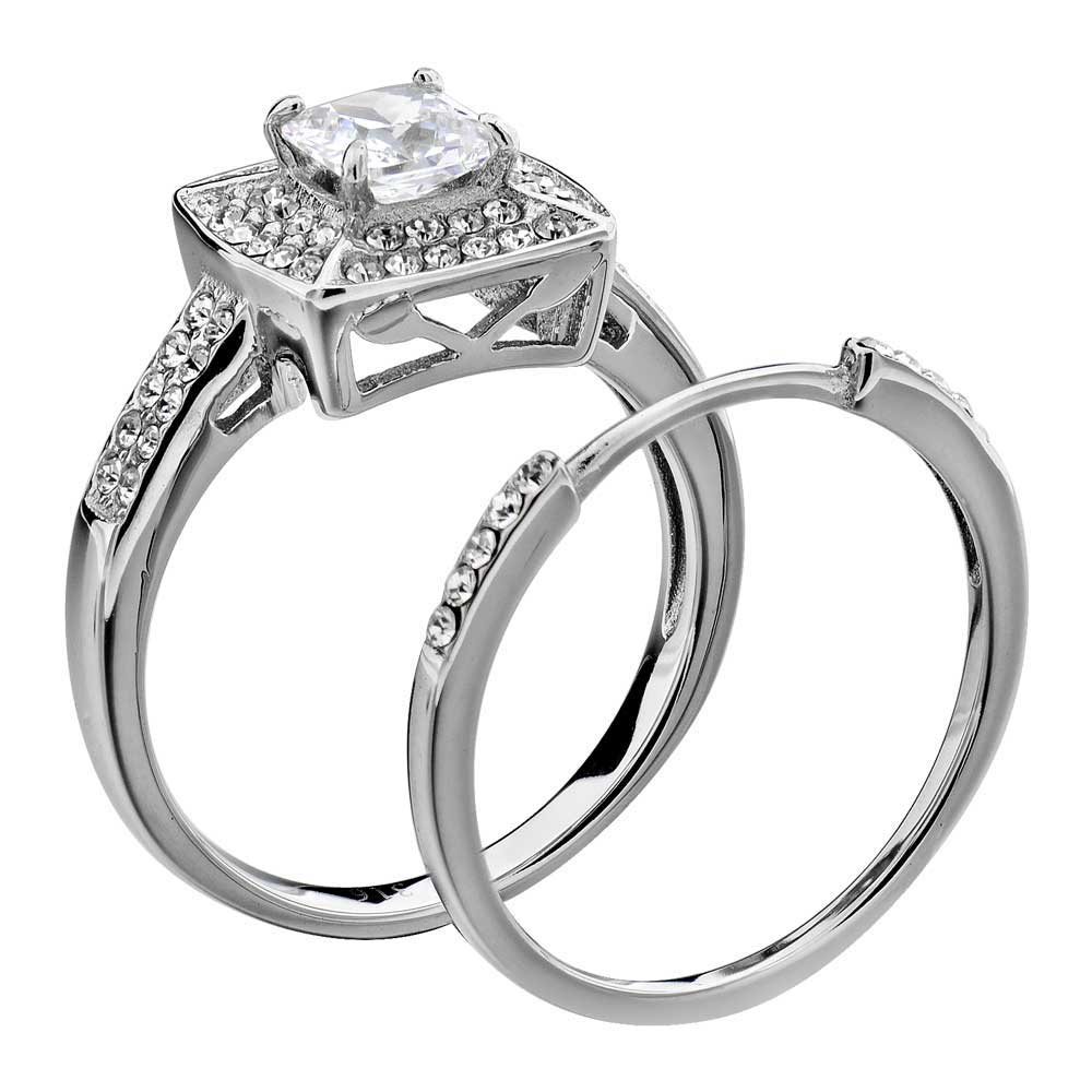 Stainless Steel Wedding Rings: Wedding Ring Set Stainless Steel Princess Cut AAA CZ Cubic