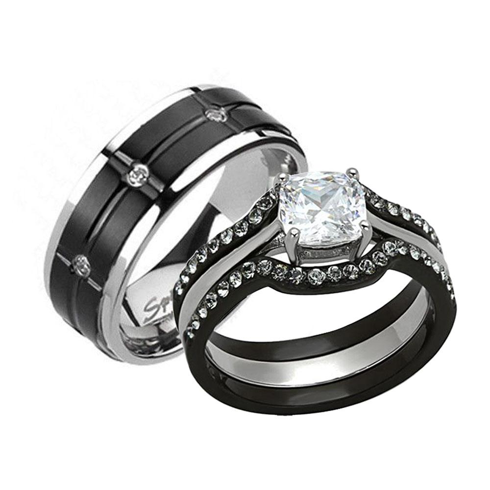 pc black stainless steel titanium wedding engagement ring set dz