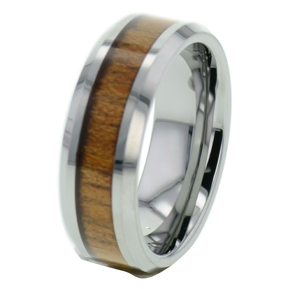 Male Wedding Bands Wood Inlay: Wood Inlay Tungsten Band Duo Step Edge Women's Men's