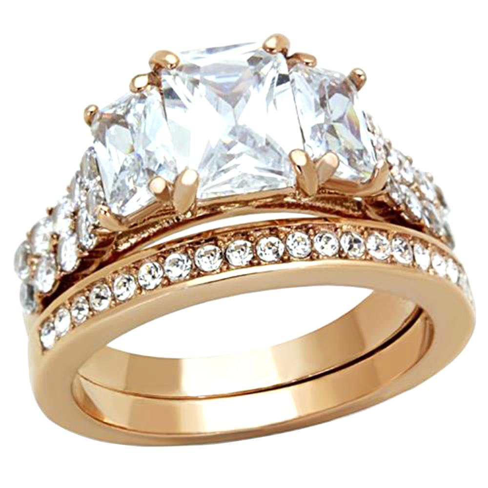4 5 cttw emerald cut cz rose gold ip wedding engagement. Black Bedroom Furniture Sets. Home Design Ideas