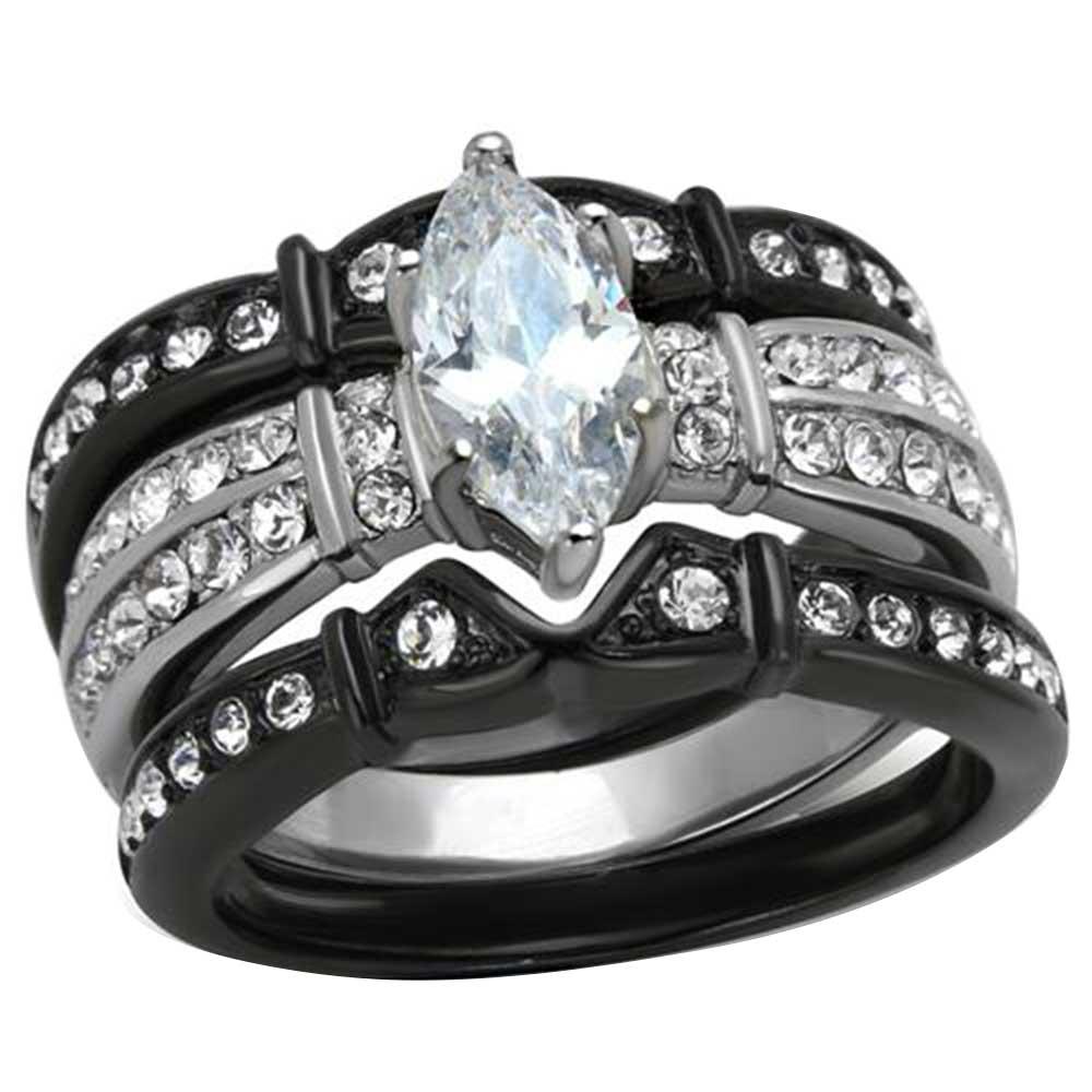 black stainless steel titanium wedding engagement ring band set