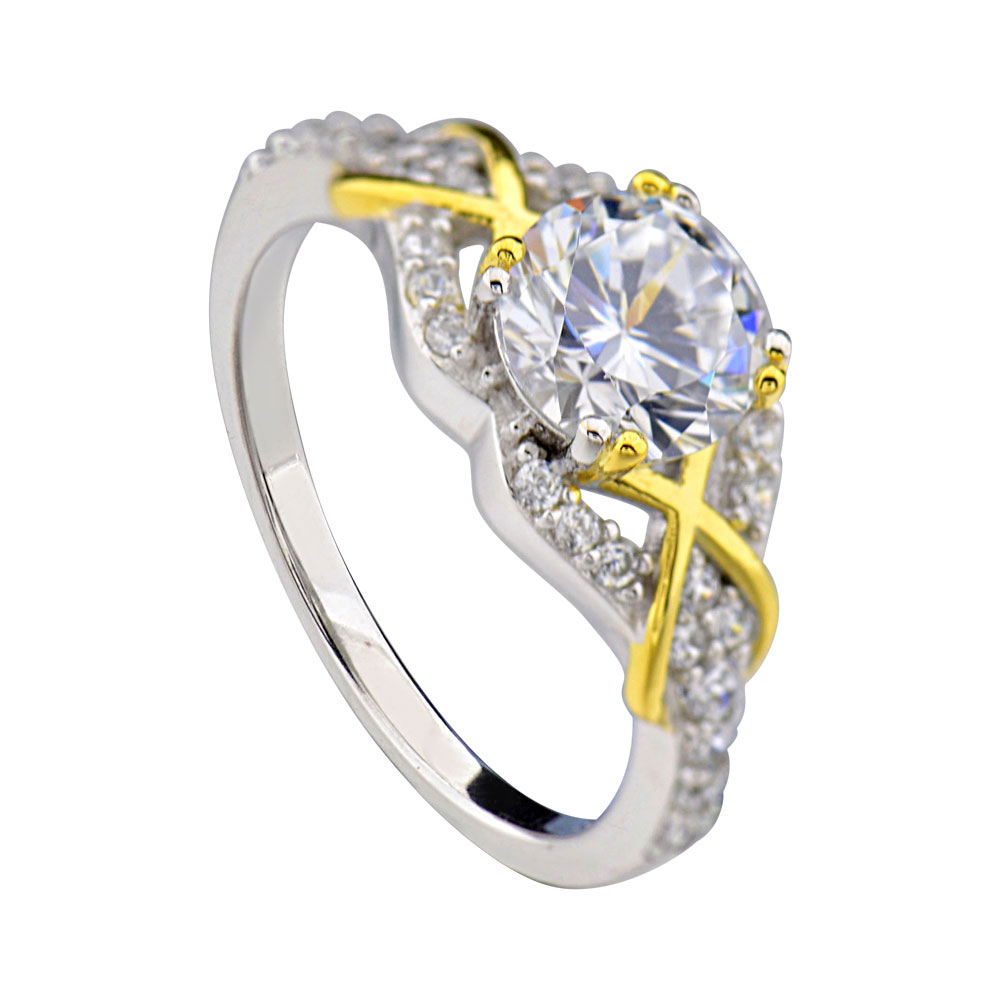 Sterling silver two tone round cz xox women jewelry for Two tone wedding rings for women