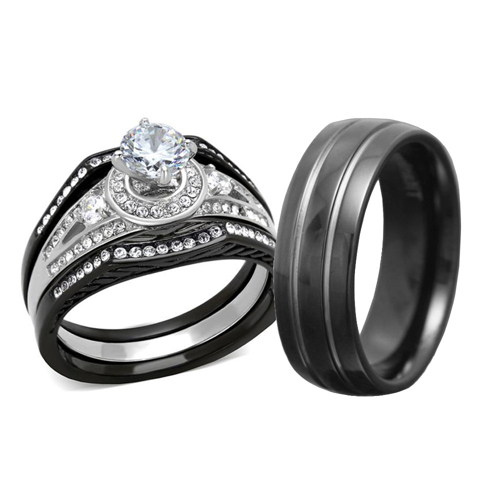 His Hers 4 Pc Black Stainless Steel & Titanium Wedding ...