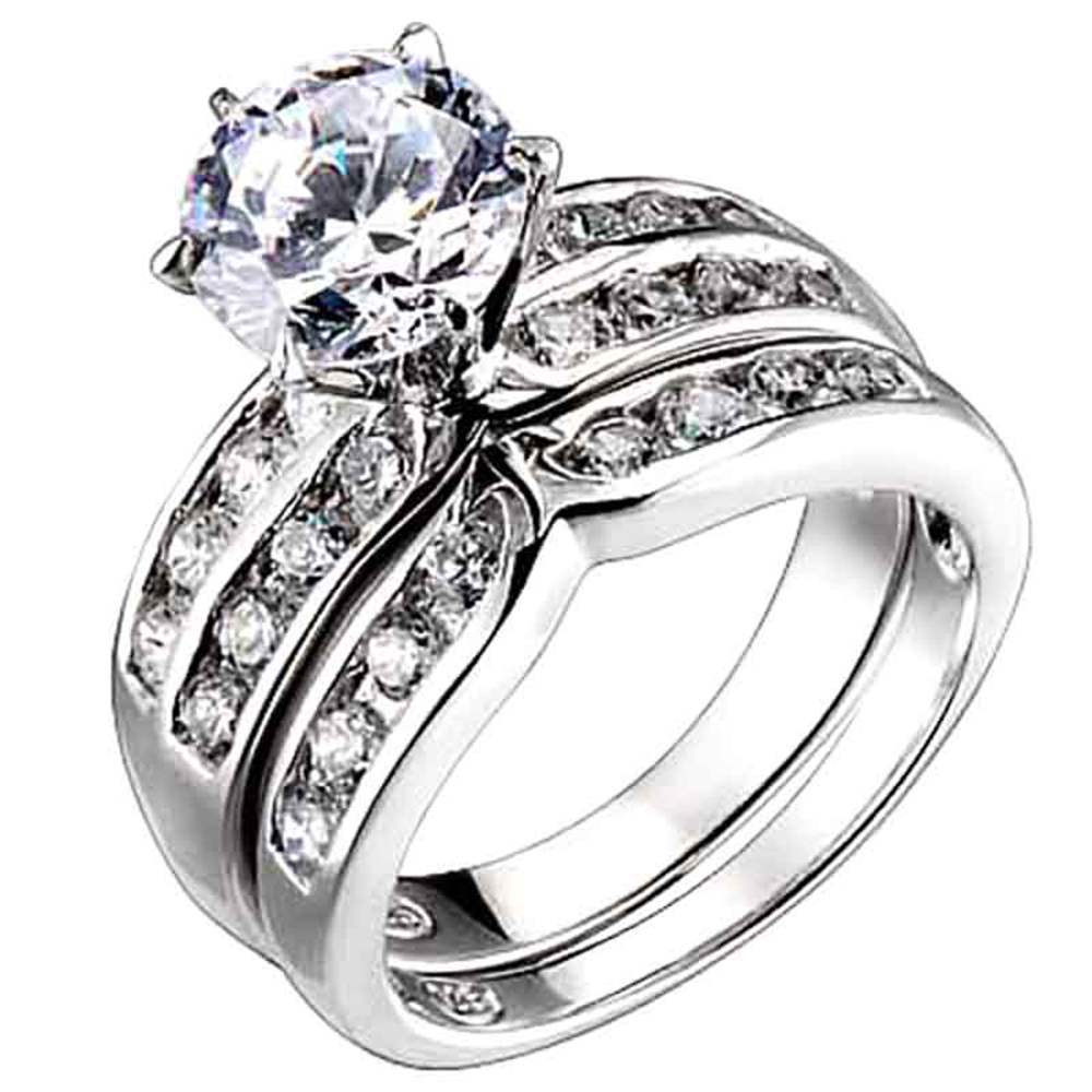 cubic zirconia sterling silver engagement bridal wedding ring set