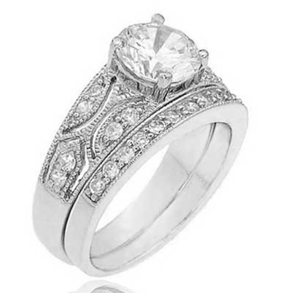 Cubic Zirconia Wedding Ring Sets: Sterling Silver 1.25 Ct Round Cubic Zirconia Antique