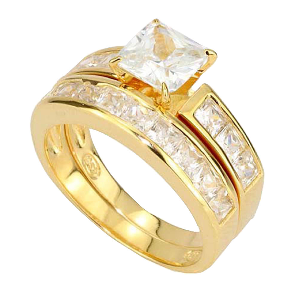 Princess Cubic Zirconia Gold Over Silver Engagement Wedding Ring Set EBay