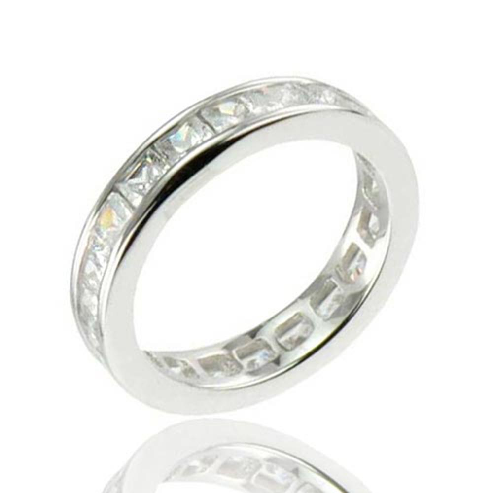 FlameReflection Princess Cut CZ Cubic Zirconia Eternity Sterling Silver Engagement Wedding Ring