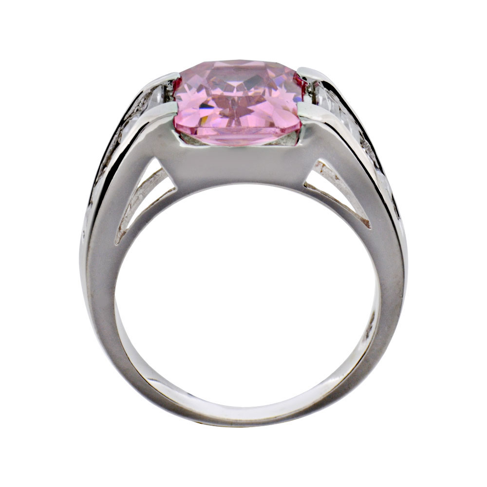 sterling silver emerald cut pink cz jewelry wedding