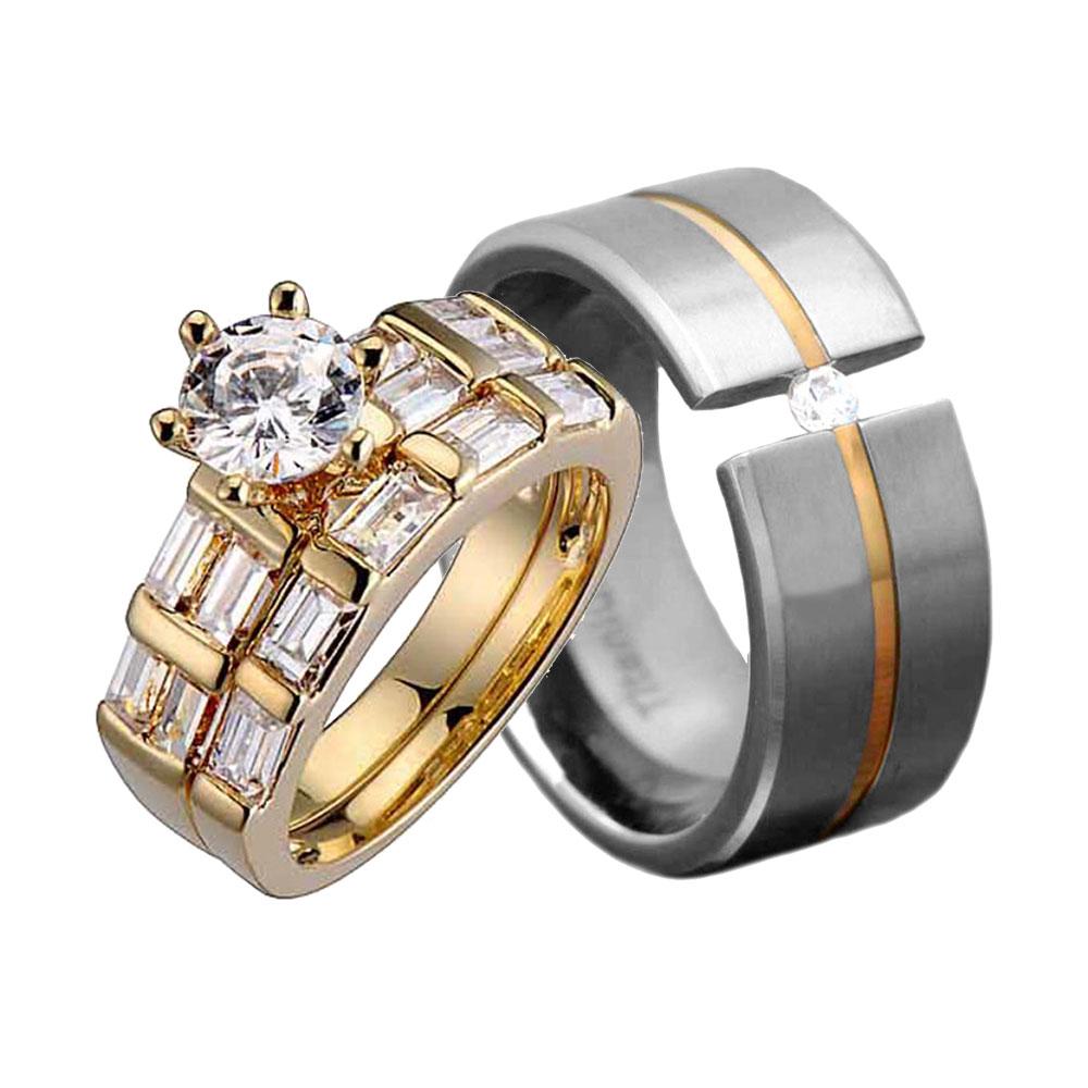 His Hers 3 Pcs Mens Womens Gold EP Titanium Cubic Zirconia Wedding Ring Set