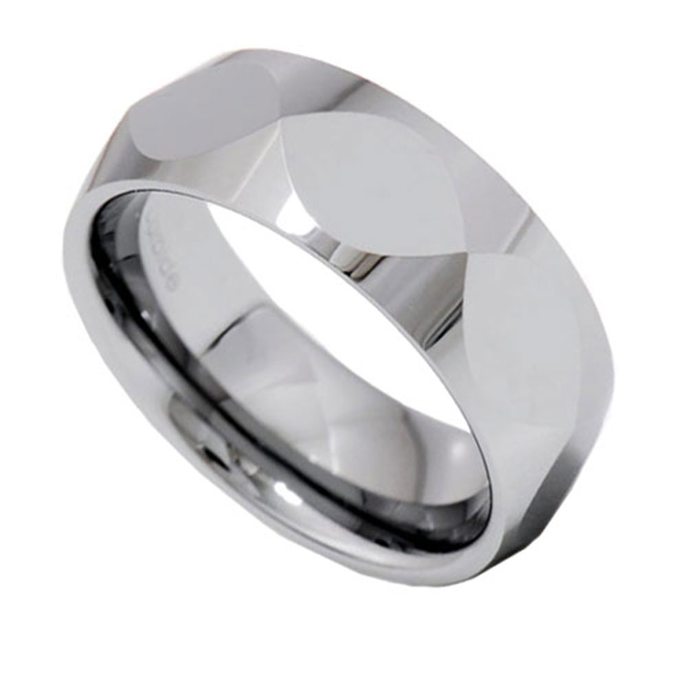 Christian Fish Faceted Shiny Tungsten Carbide Band Men S Wedding Ring