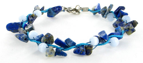 FlameReflection Natural Gemstone Chips Blue Azurite White Cat's Eye Beads Blue Triple Steel Wired Bracelet Lobster Clasp 7.5 Inches at Sears.com