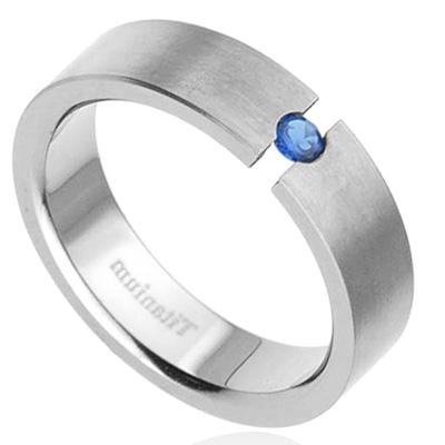 New 6mm Titanium Band Syn Blue Sapphire Men 39s Wedding Ring eBay
