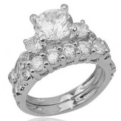 Sterling Silver Wedding Ring on Cz Cubic Zirconia Sterling Silver Wedding Engagement Ring Set   Ebay