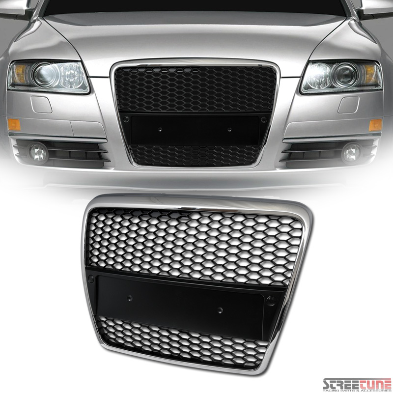 chrome black rs style honeycomb mesh hood bumper grill. Black Bedroom Furniture Sets. Home Design Ideas