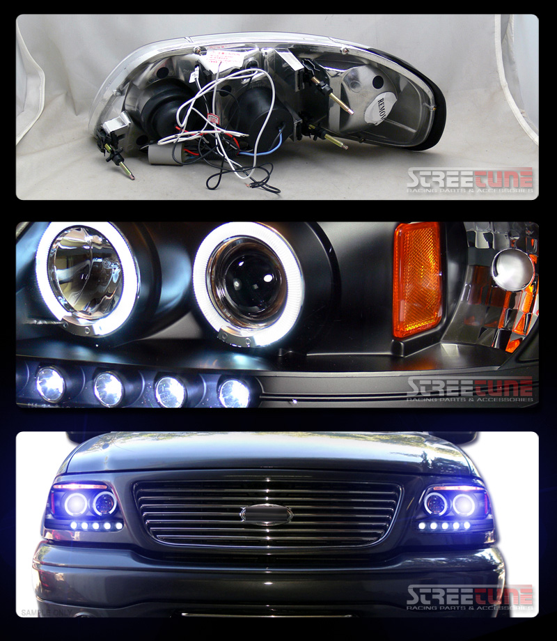 K HID Xenon w Blk Halo LED Projector Head Lights 97