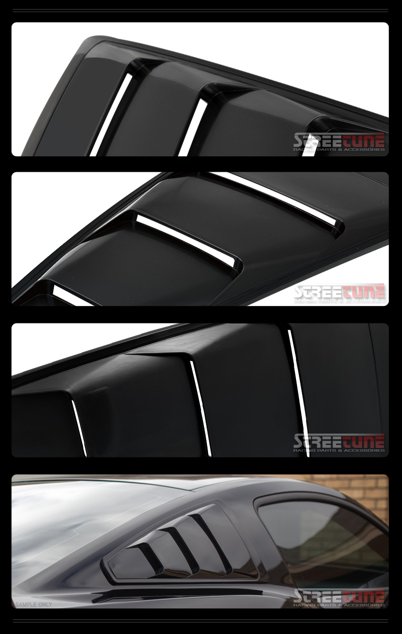 Blk gt 3 vent style quarter side window louvers cover kit for 2000 mustang rear window louvers