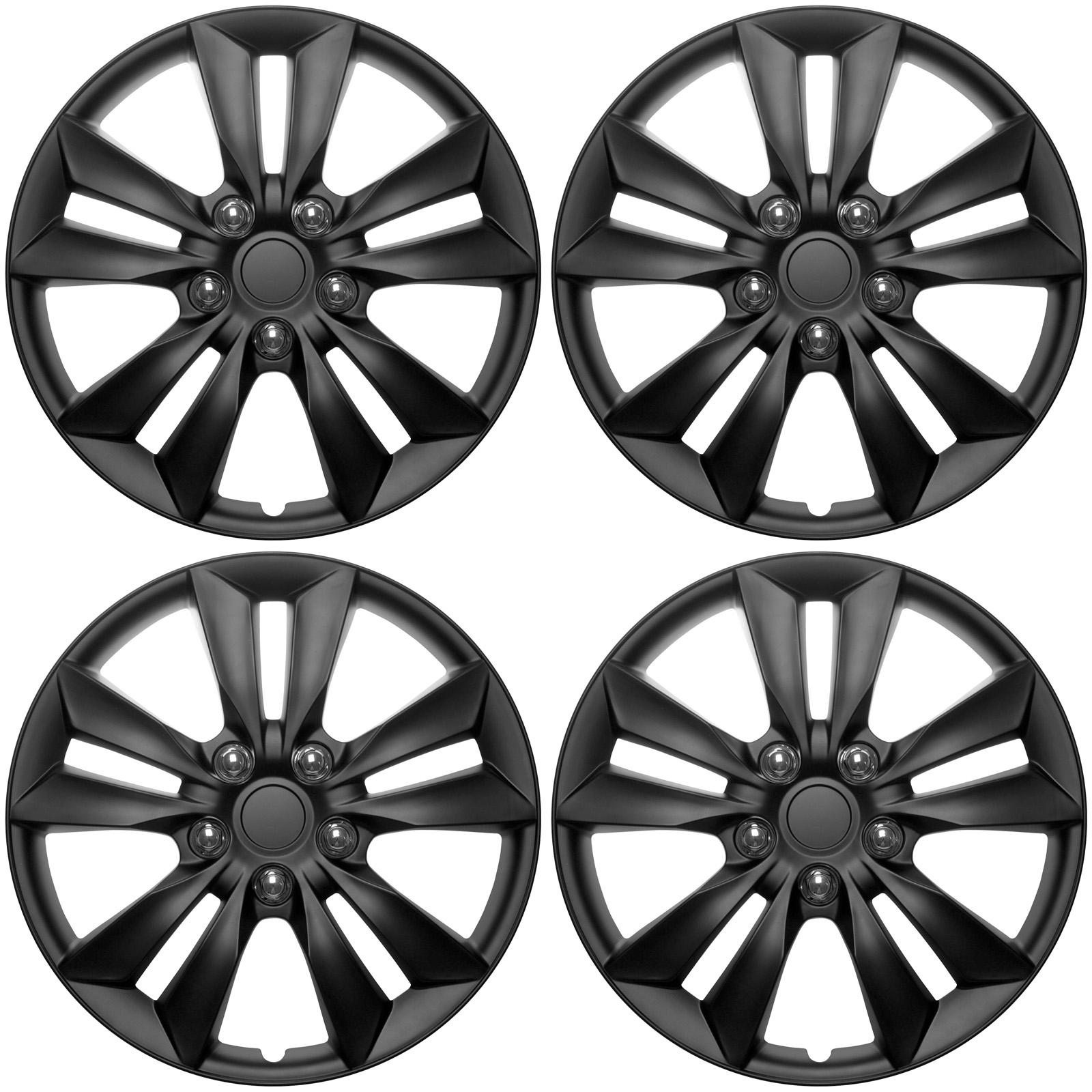 4 Pc Set Of 16 Quot Matte Black Hub Caps For Oem Steel Wheel