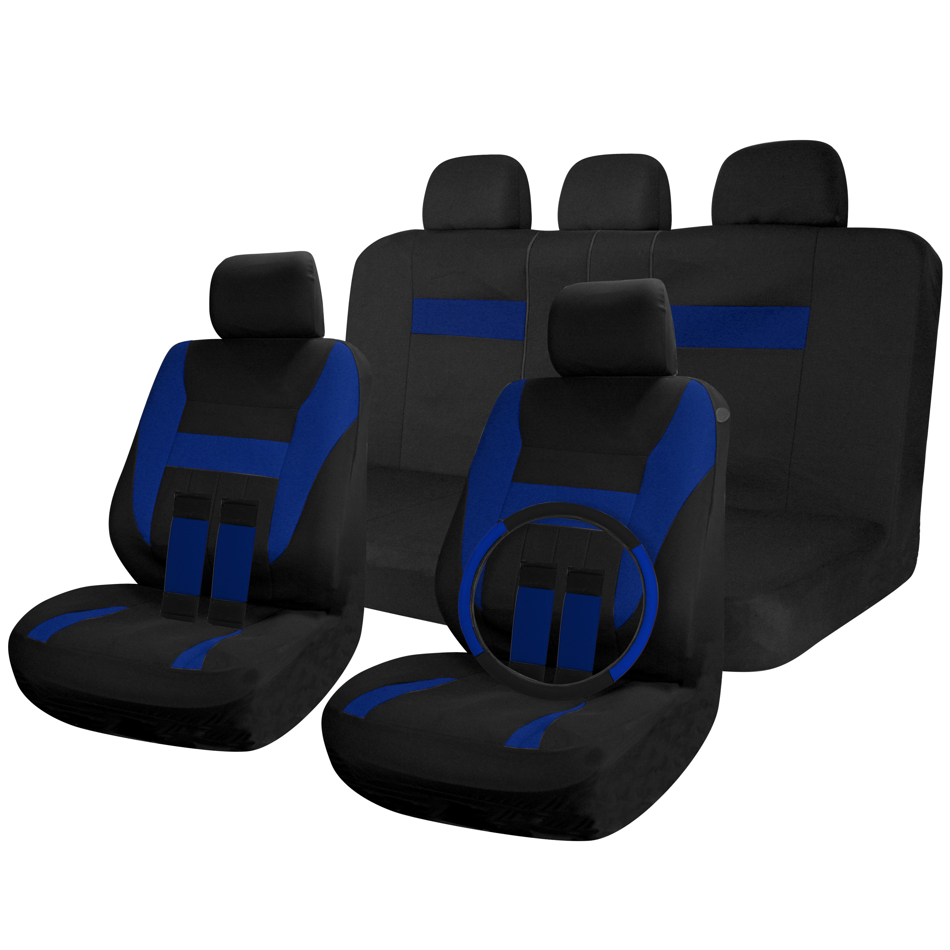 Car Seat Covers Black Blue 17pc Full Set For Auto Seats