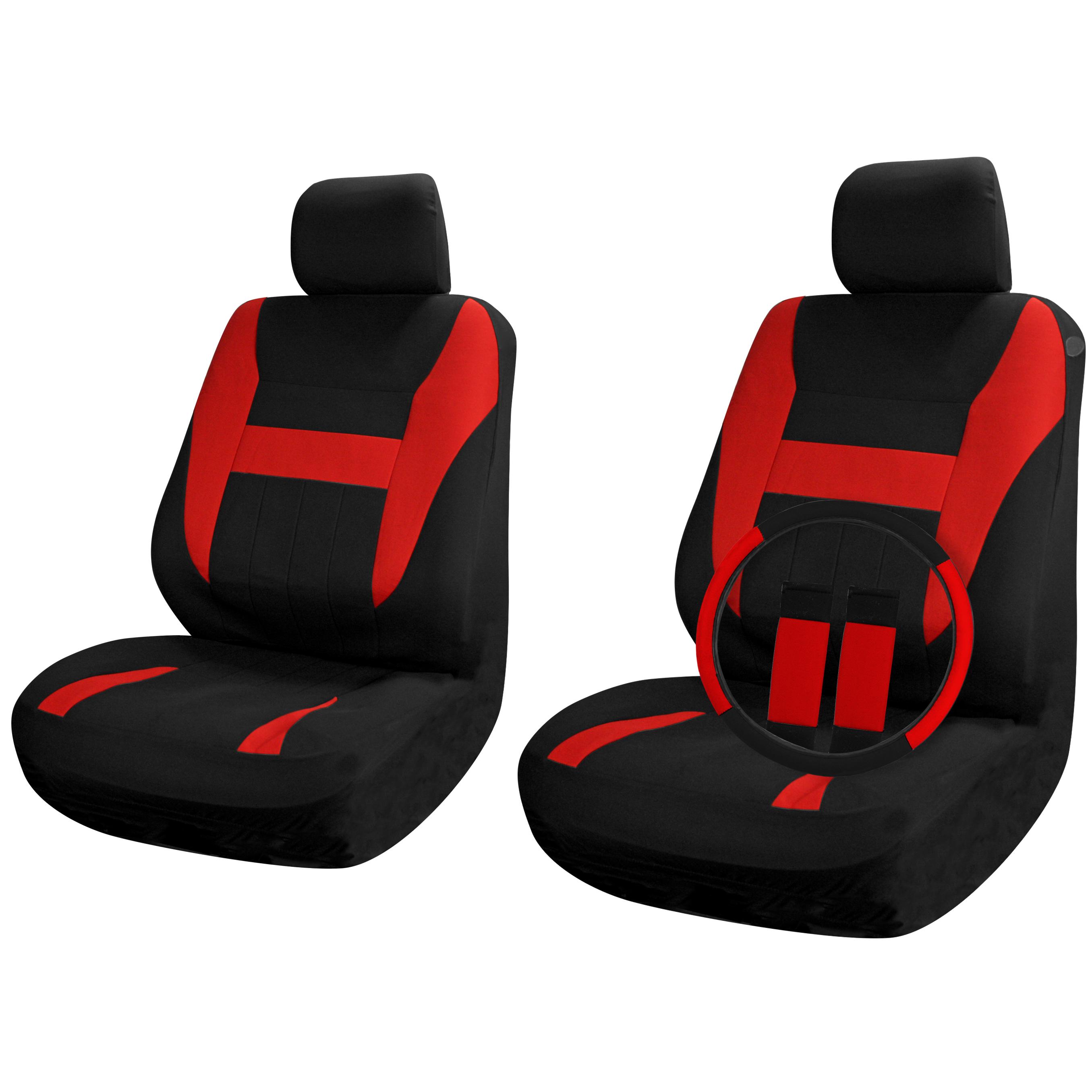 SUV Van Truck Seat Covers Set Bucket Seats Black Red 9pc