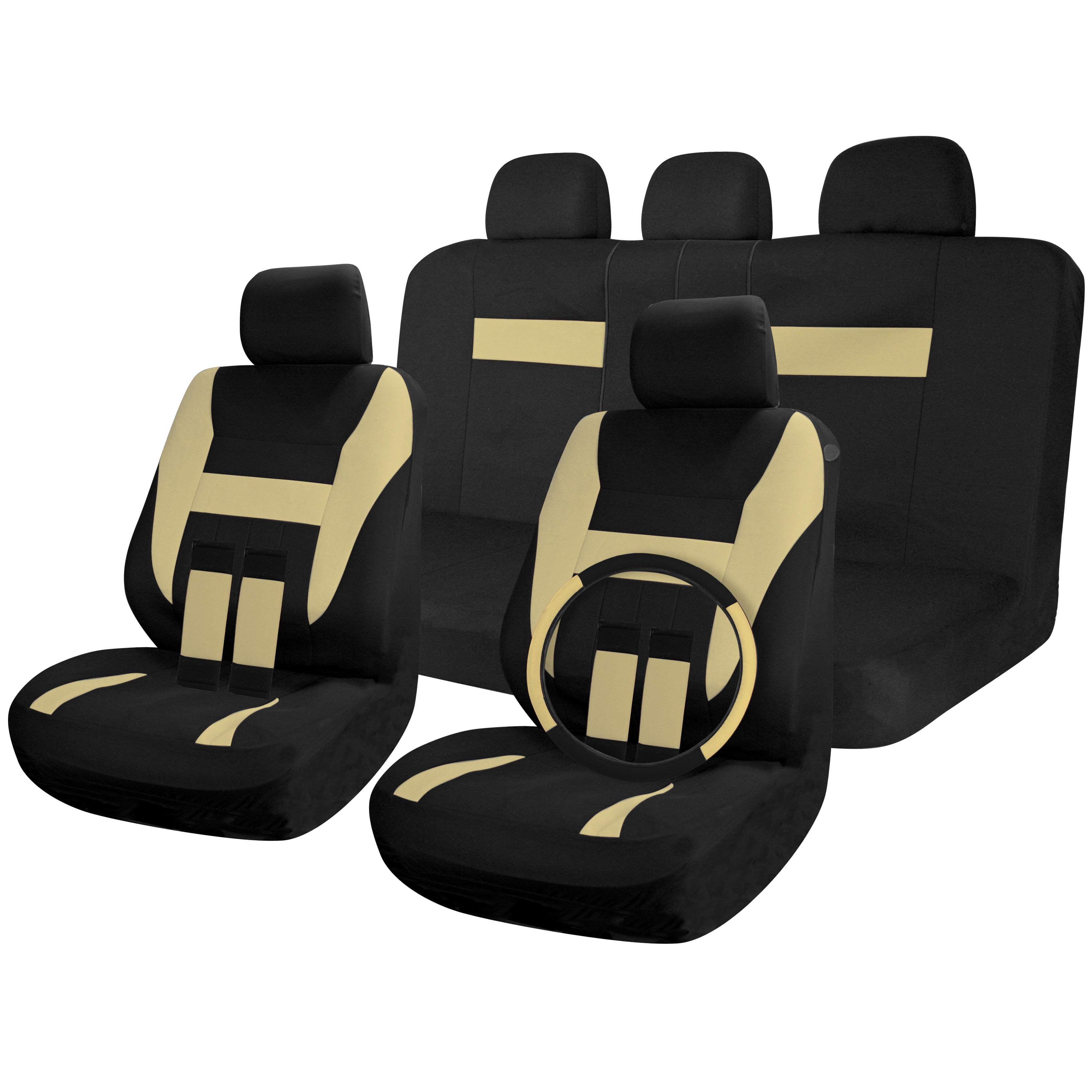 car seat covers black beige tan 17pc full set for seats steering wheel cover ebay. Black Bedroom Furniture Sets. Home Design Ideas