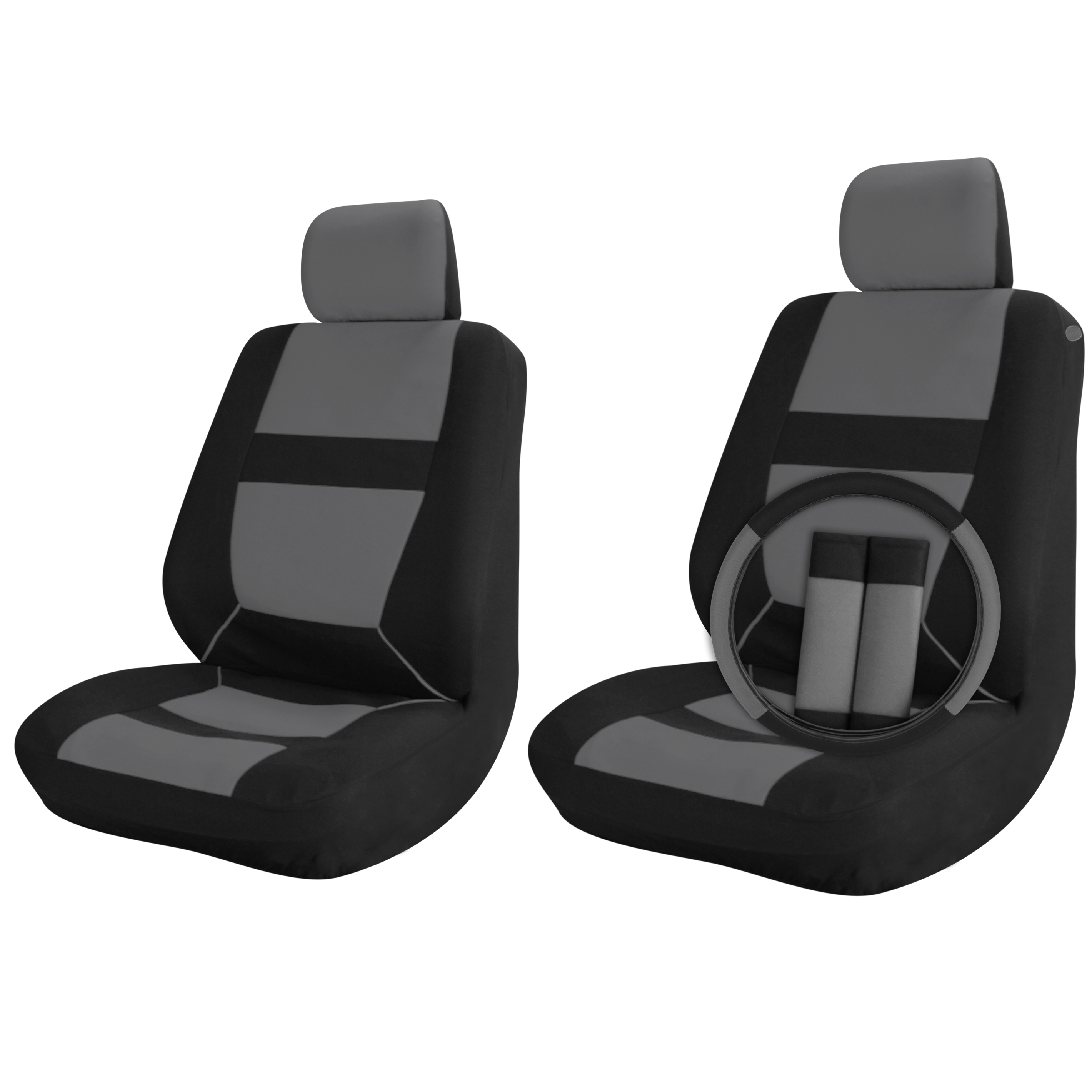 Car Seat Covers Black Grey 9pc Set For Front Bucket