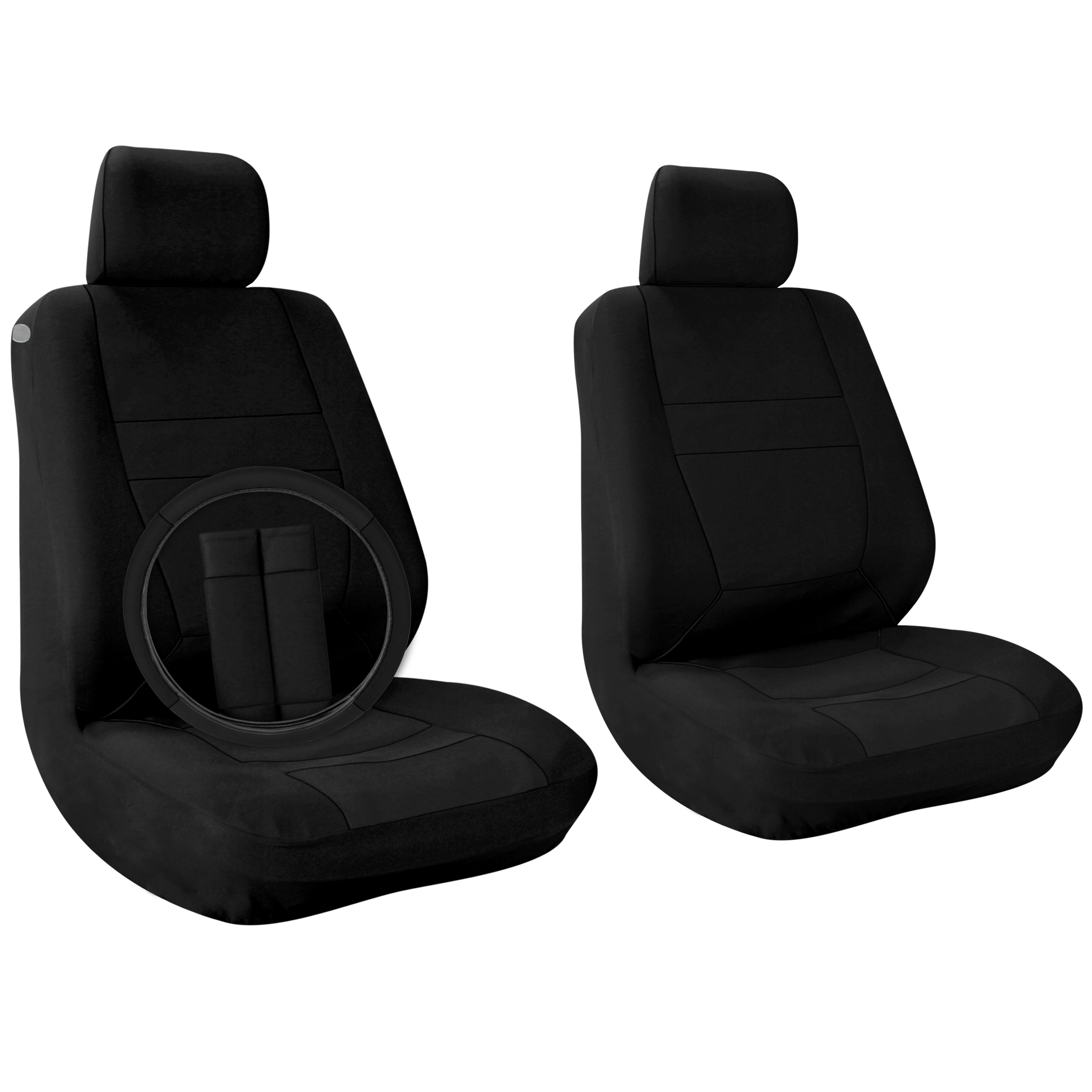 Car Seat Covers Solid Black 9pc Set For Front Bucket Seats