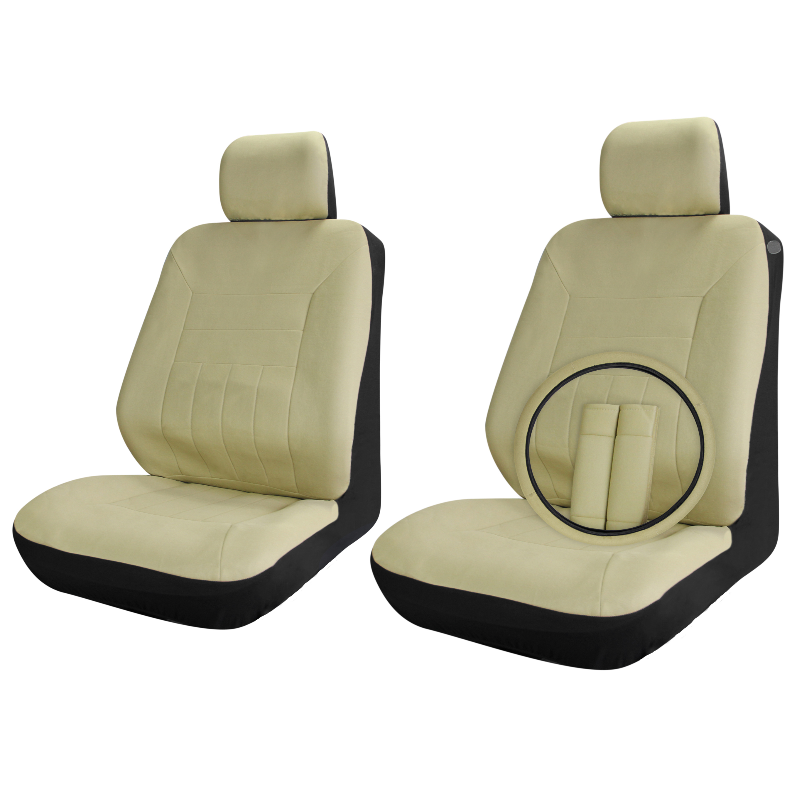 Car Seat Covers Solid Beige Tan 9pc Set Front Bucket