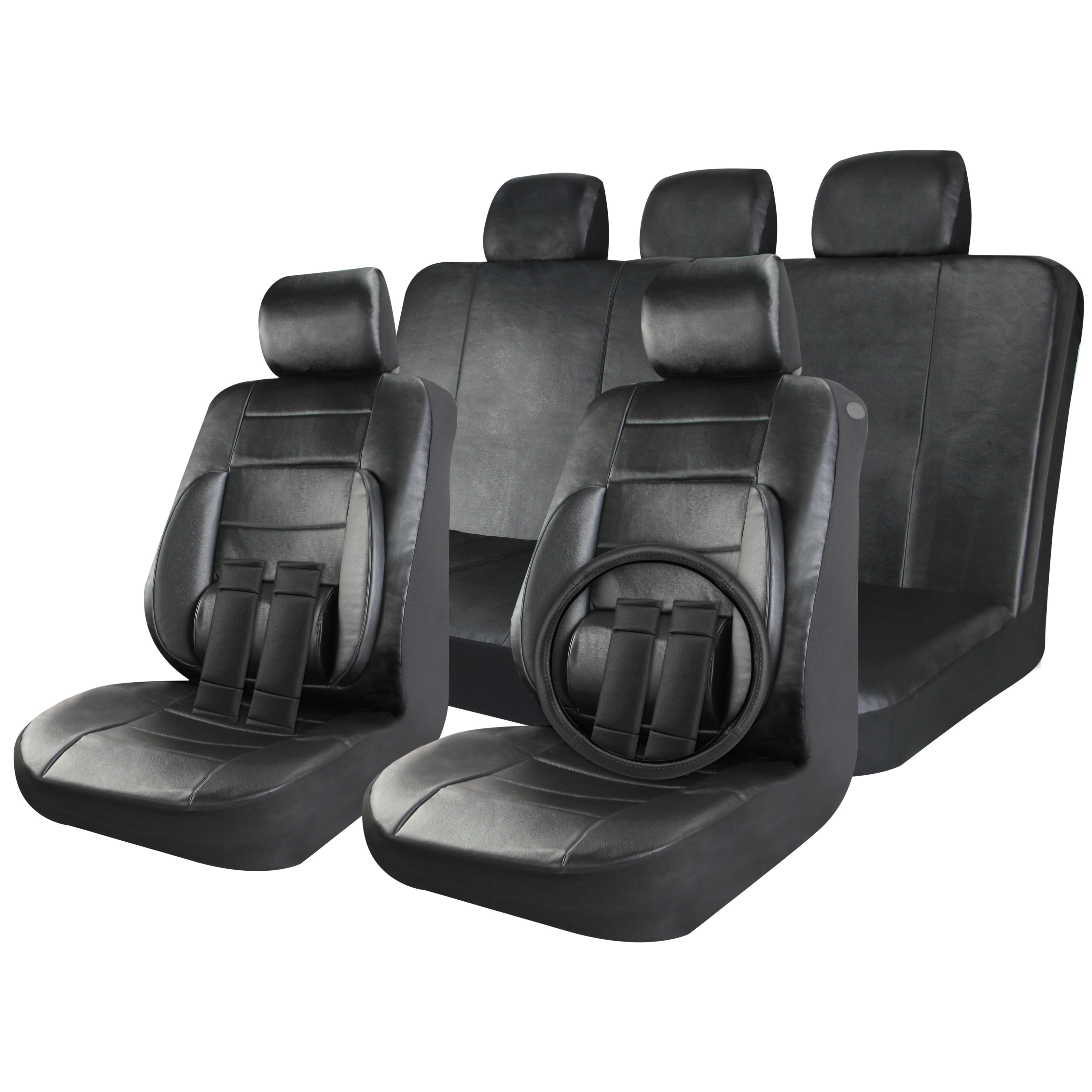 Faux Leather Car Seat Covers Solid Black 17pc Full Set