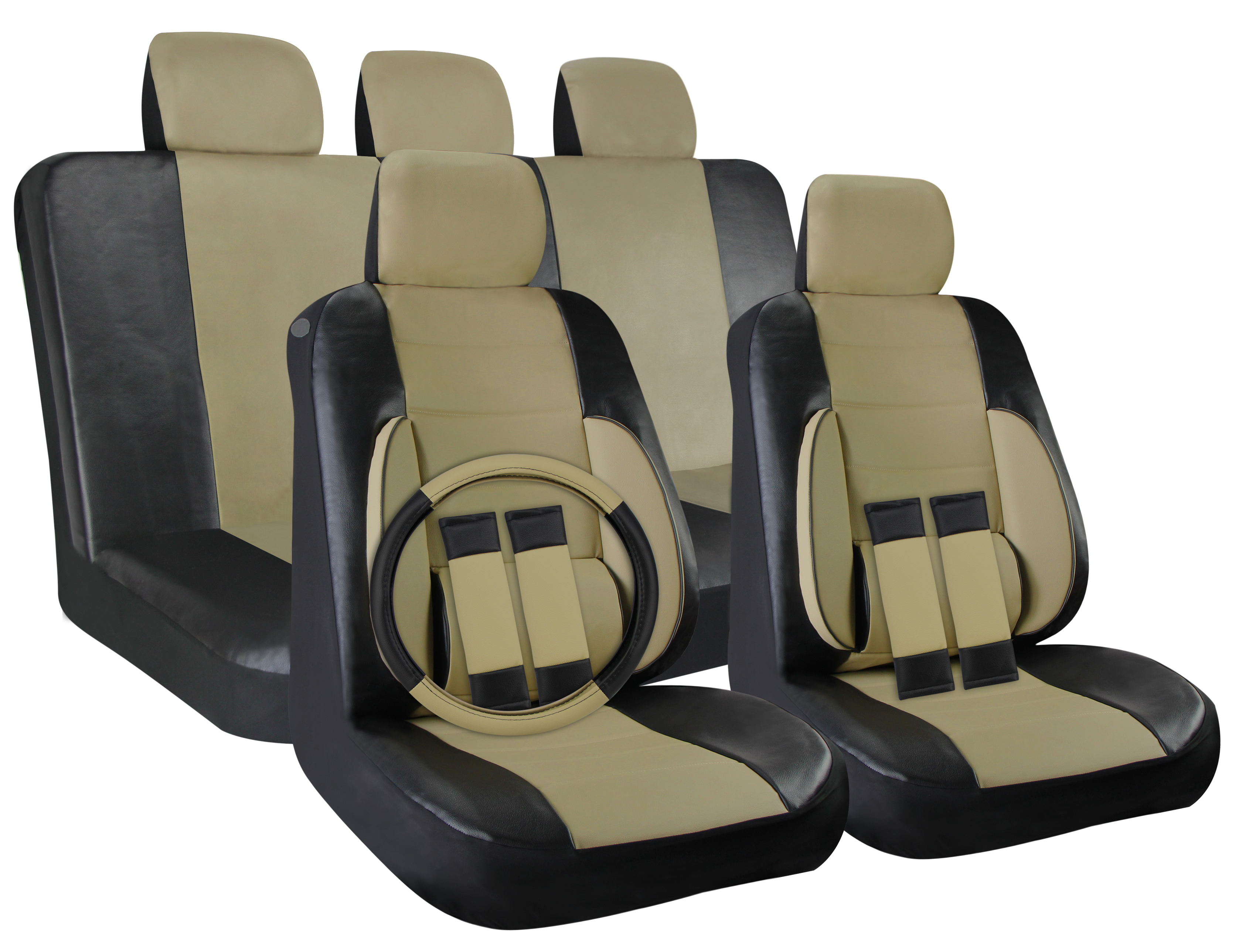 faux leather car seat covers black beige tan 17pc full set w steering wheel ebay. Black Bedroom Furniture Sets. Home Design Ideas