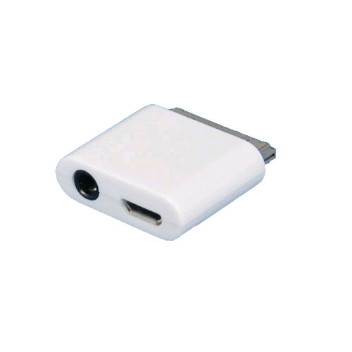 Sellnet Micro USB Line Out Adapter Connector For Apple | High-speed Slim Adapter Output Jack For Audio Output And A Micro Usb Port | iPhone 3g/3gs 4/4s Ipad 1/2 Ipod, (White)
