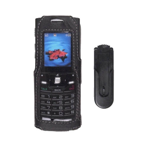 Premium Fitted Leather Case for Sanyo S1 (Black)