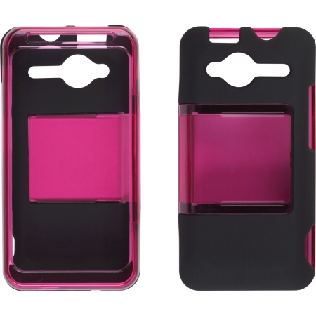 Two piece Hybrid Slide Snap Case for HTC EVO Shift 4G - Pink/Black