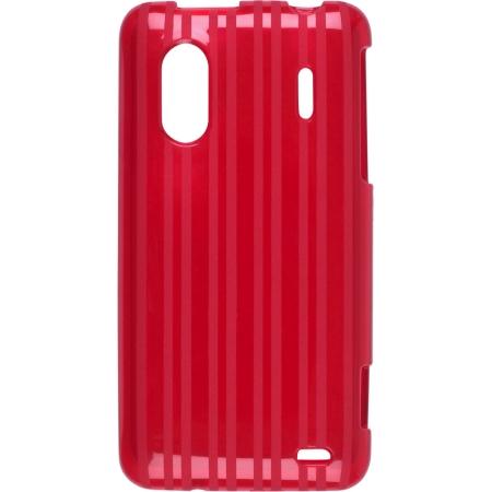 Raised Stripes TPU Dura-Gel Case for HTC EVO Design 4G, Hero S (Red)