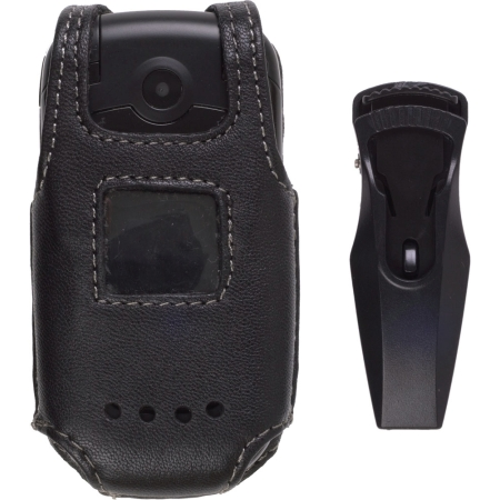 Black Fitted Leather Case w/ Belt Clip Cal-Comp Captr A200