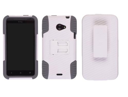 Ventev - Edge Holster/Case Combo for HTC Evo 4G Lte - White PC/ Gray Gel