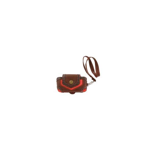 Xentris Universal Slim Fashion Rugged Pouch with Wrist Strap (Brown & Orange)