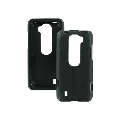 OEM HTC MyTouch 4G Slide Leather Textured Hard Shell Case - Black / Black