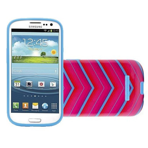 Body Glove Snap-On Case for Samsung Galaxy S4 (Glossy Pink and Teal Chevron Pattern)