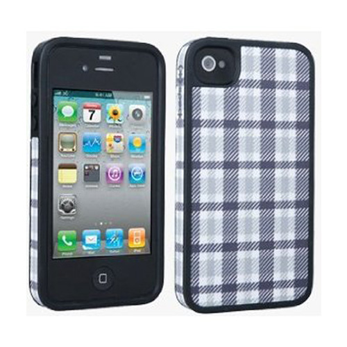 Speck Fitted Hard Case with Fabric for Apple iPhone 4 / 4S (Plaid Grey/White)