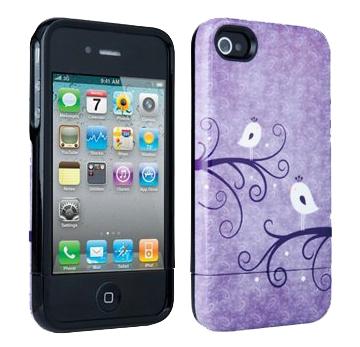 Verizon Broodi Hard Case for Apple iPhone 4/4S (Purple/White Birds)