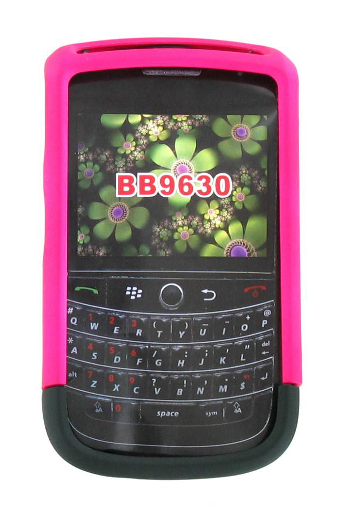 BlackBerry Tour 9630 Rubberized Case (Hot Pink / Black)