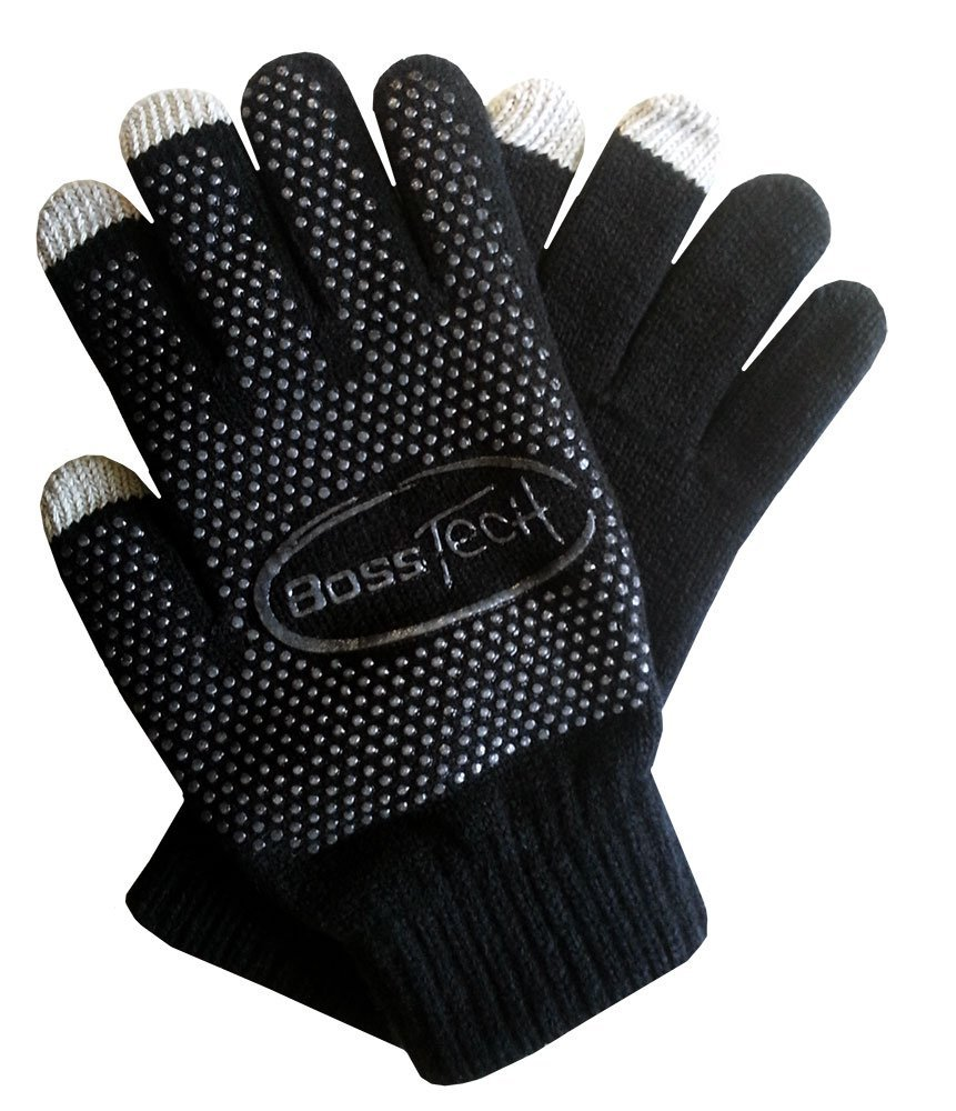 Boss Tech Knit Non-Skid Touchscreen Gloves for Cell Phones, Smart Phones, Tablets Kiosks and ATM Machines (Black)