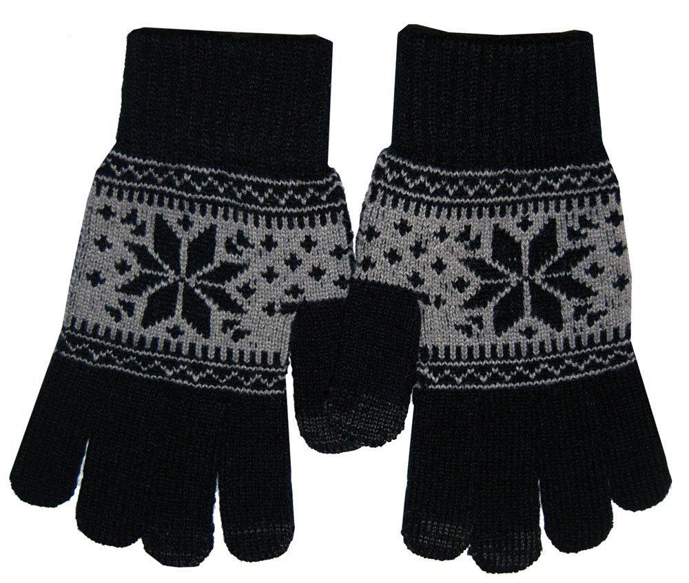 Boss Tech BTP-GLV-PRPBLK Knit Touchscreen Gloves, Texting Gloves, Tech Gloves (Black/Purple)