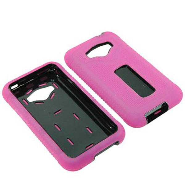 Durable Rugged Refuge Hybrid Case for LG Optimus Elite/M+/Plus/Quest (Hot Pink/Black)